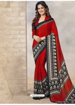 Red Silk Print Work Saree