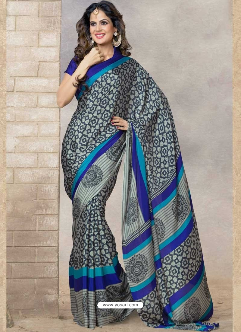 Black Silk Print Work Saree