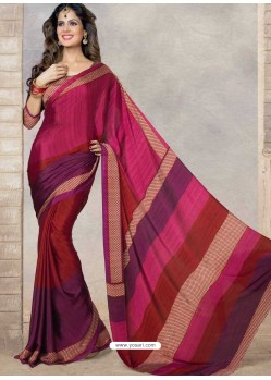 Maroon Silk Print Work Saree