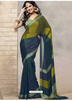 Navy Blue Silk Print Work Saree