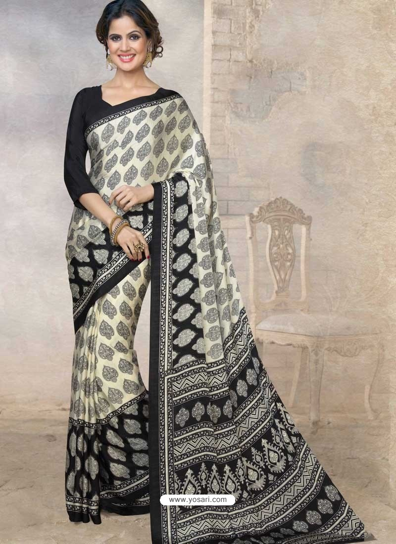 White Silk Print Work Saree