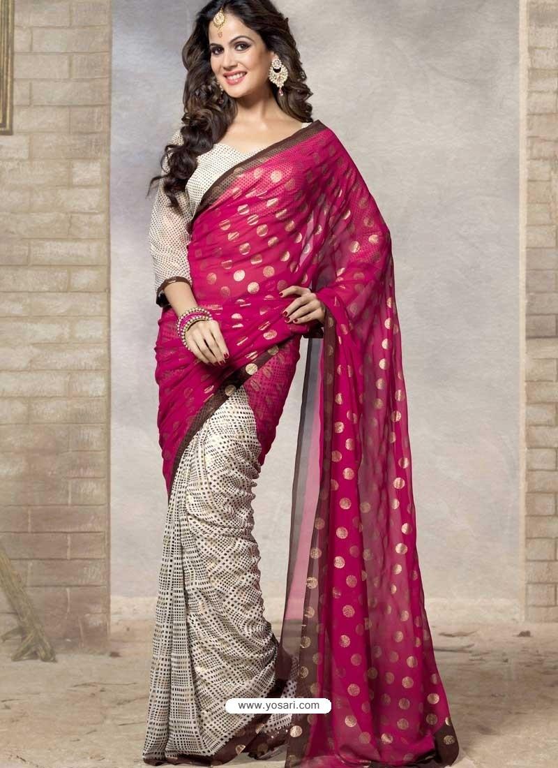Pink Silk Print Work Saree