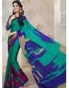 Sea Green Silk Print Work Saree