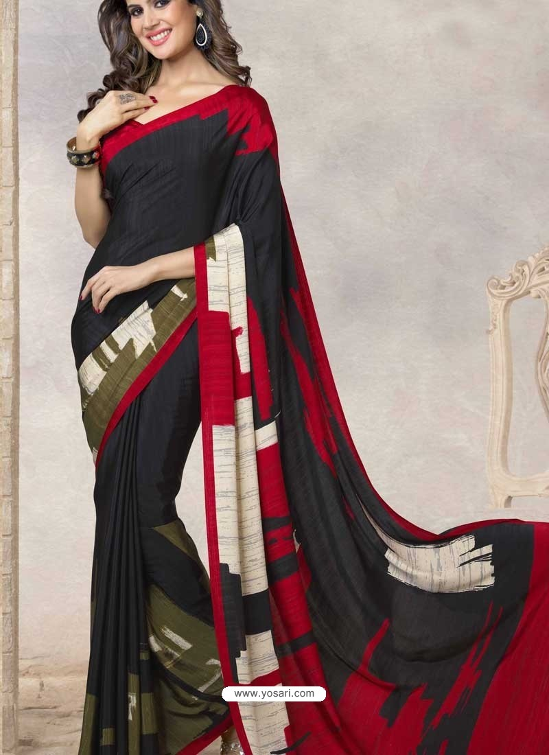 Black Silk Print Work Saree
