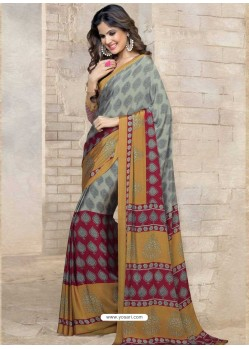 Grey Silk Print Work Saree