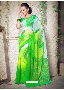Green Georgette Designer Saree