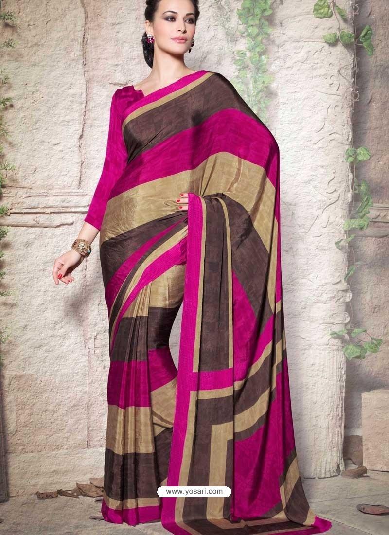 Magenta Crepe Designer Saree
