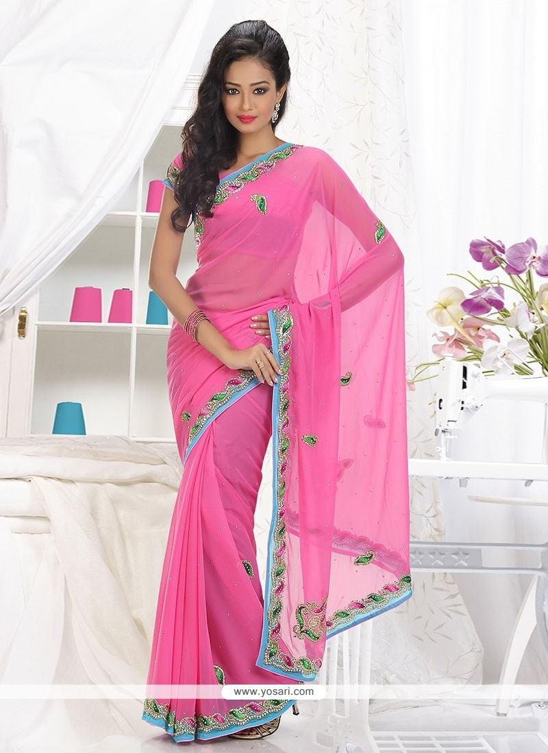 BreathtakingGrandstand Pink Faux Chiffon Saree