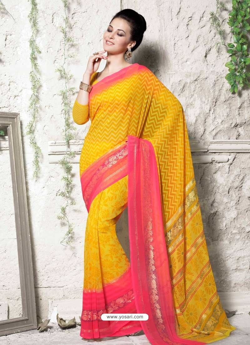 Yellow Georgette Print Work Saree