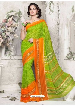Sea Green Georgette Print Work Saree