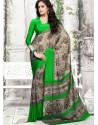 Green Crepe Print Work Saree