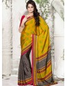 Yellow Silk Print Work Saree