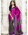 Magenta Silk Print Work Saree