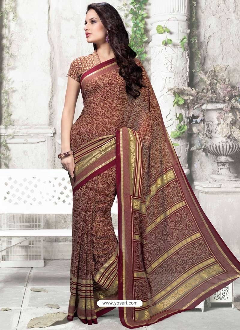 Beige Georgette Print Work Saree