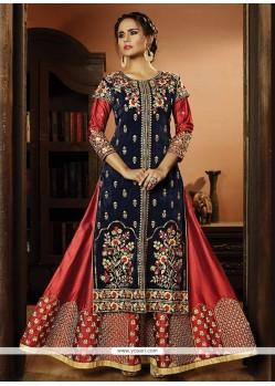 Satin Silk Lace Work Designer Suit