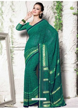 Green Georgette Print Work Saree