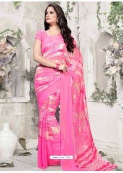 Pink Georgette Print Work Saree