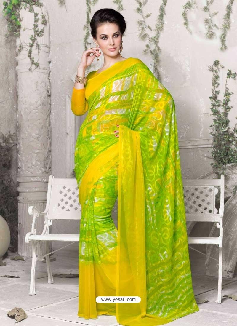 Green Georgette Print Work Saree