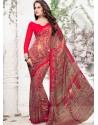 Red Georgette Print Work Saree