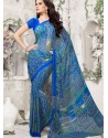 Blue Georgette Print Work Saree