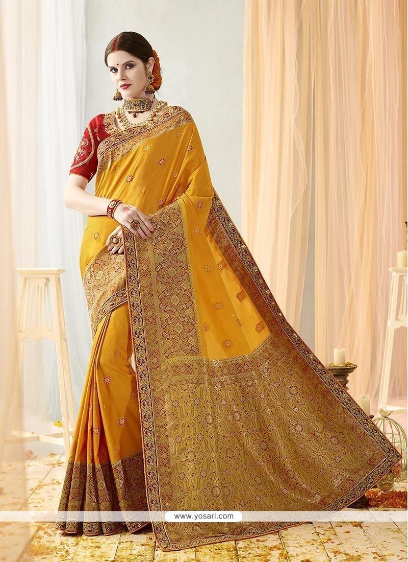 a44aec655f Buy Thread Work Yellow Art Silk Traditional Designer Saree ...