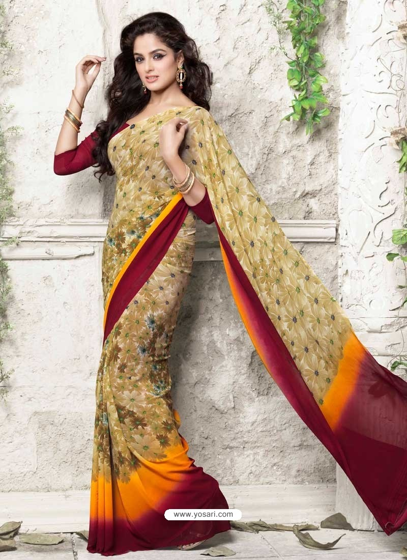 Cream Georgette Print Work Saree