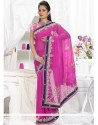 Decent Pink Faux Chiffon Saree