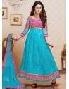 Pink And Sky Blue Net Anarkali Suit