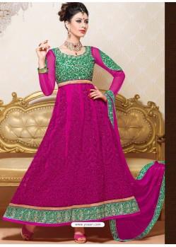 Green And Magenta Net Anarkali Suit