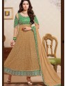 Green And Cream Net Anarkali Suit