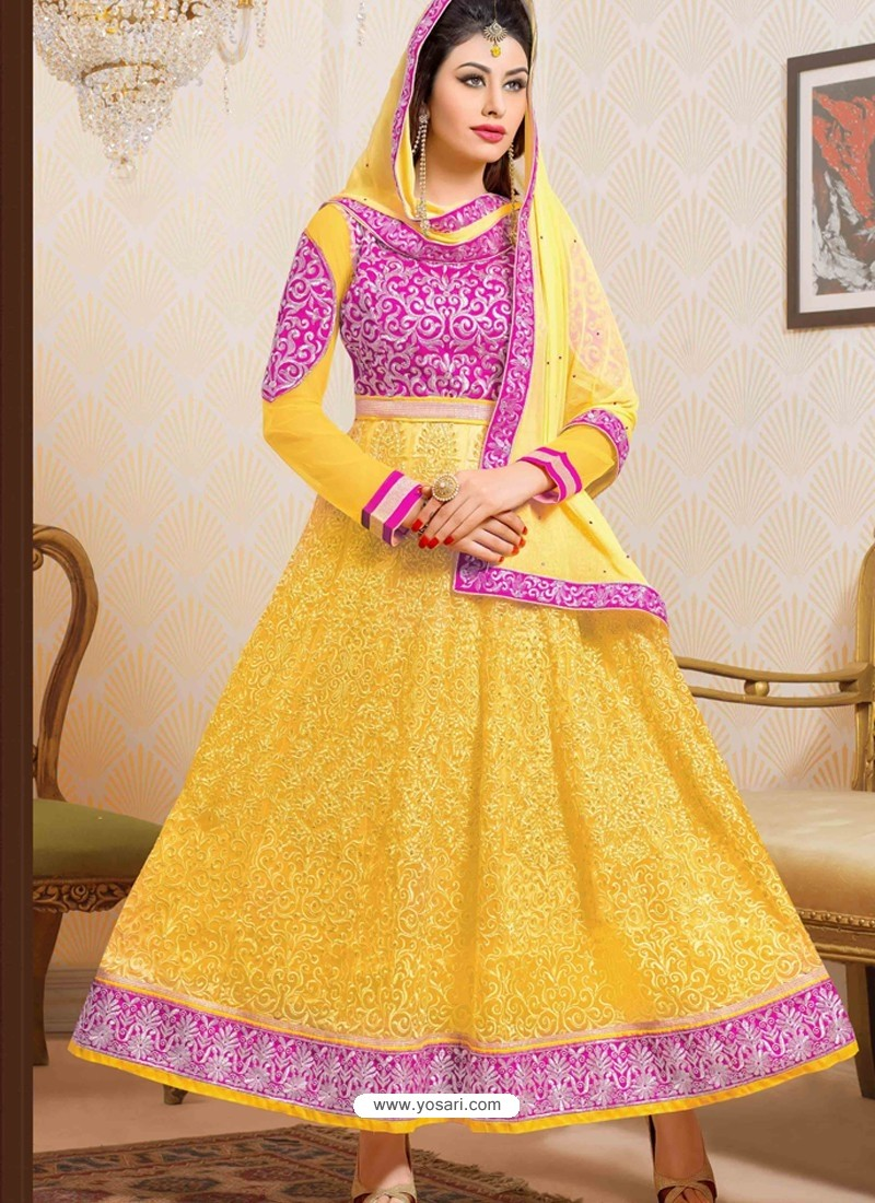 Pink And Yellow Net Anarkali Suit