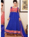 Pink And Blue Net Anarkali Suit