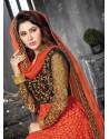 Orange And Black Net Anarkali Suit