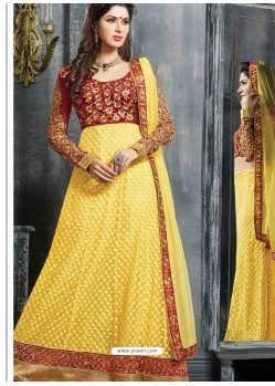 Maroon And Yellow Net Anarkali Suit