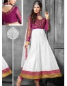 White And Magenta Net Anarkali Suit