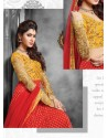 Red And Mustard Net Anarkali Suit