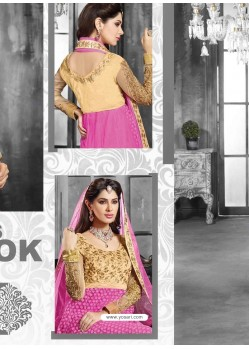 Pink And Cream Net Anarkali Suit