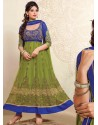 Green And Blue Net Anarkali Suit
