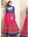 Magenta And Blue Net Anarkali Suit