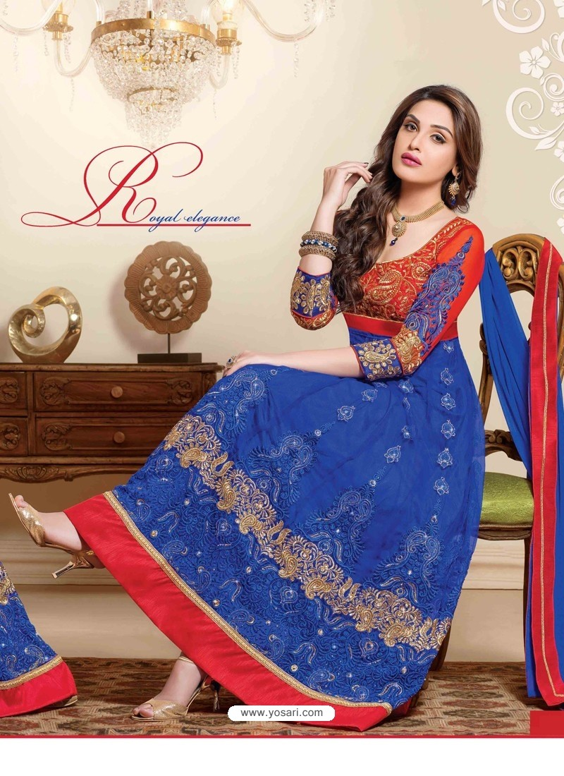Red And Blue Net Anarkali Suit