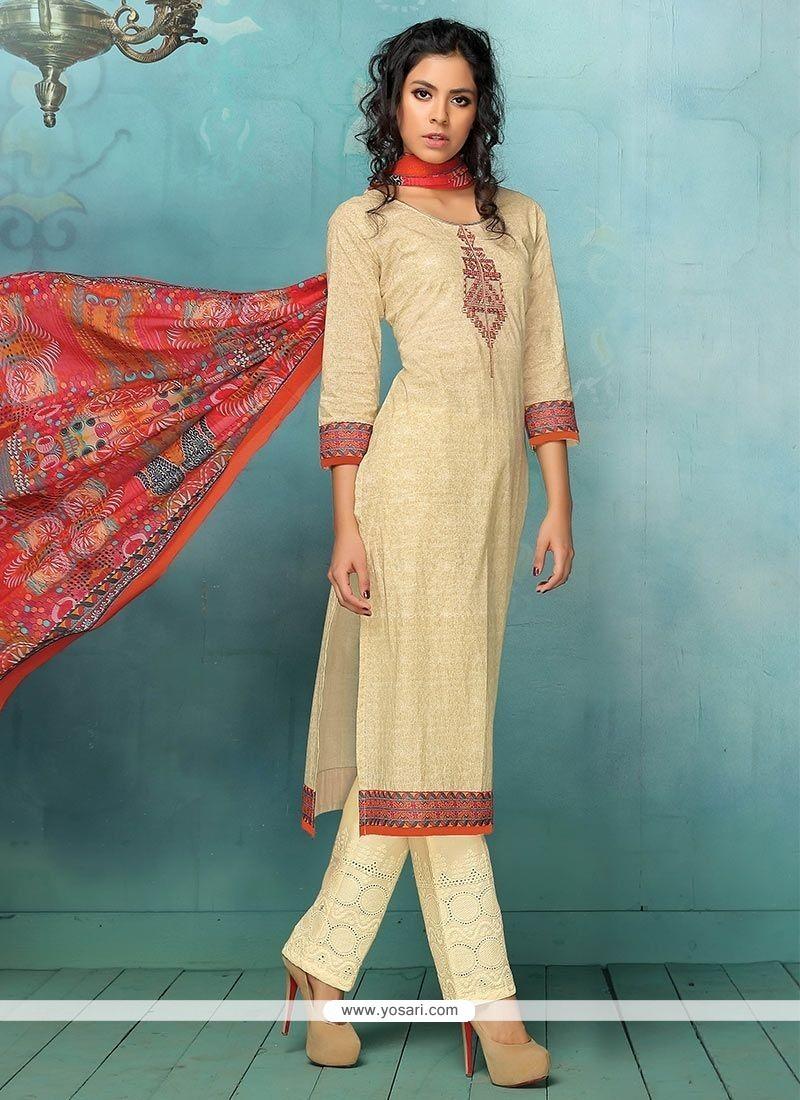 Buy Cream Print Work Art Silk Pant Style Suit   Palazzo Salwar Suits