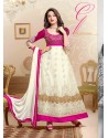 Magenta And White Net Anarkali Suit