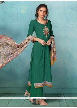 Art Silk Green Designer Palazzo Suit