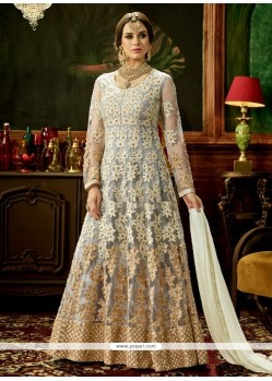 Patch Border Work Grey Floor Length Anarkali Suit
