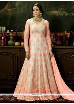 Resham Work Net Pink And White Floor Length Anarkali Suit