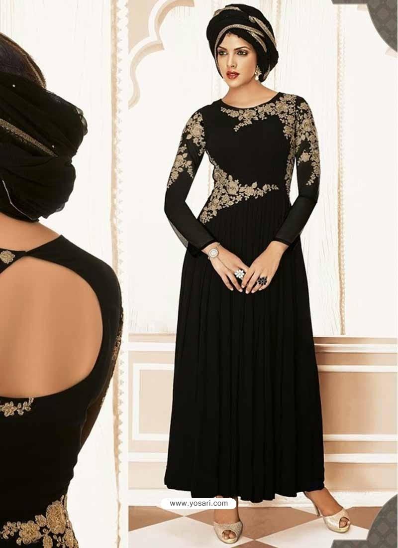 Black Georgette Churidar Suit
