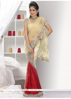 Elite Cream And Red Shade Net Ready Pleated Saree