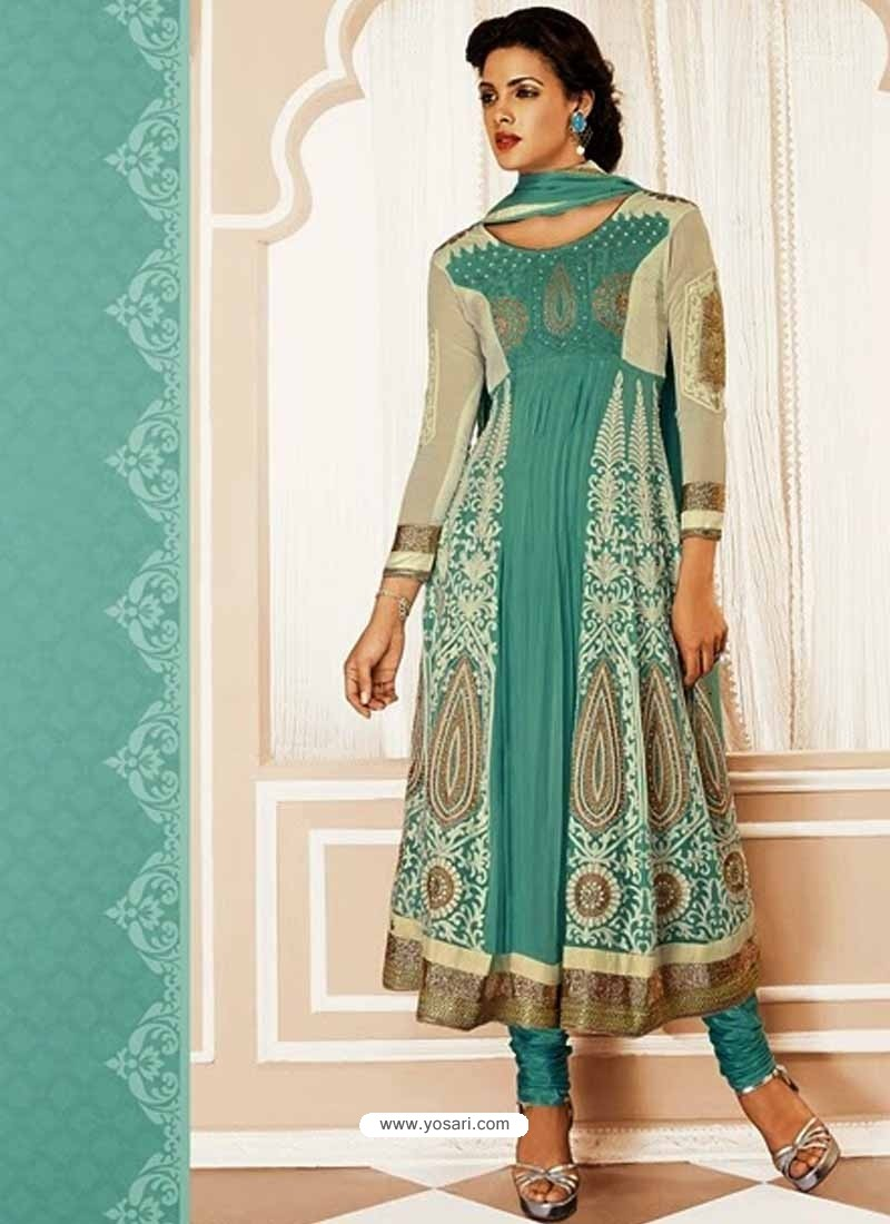 Cream And Green Georgette Churidar Suit