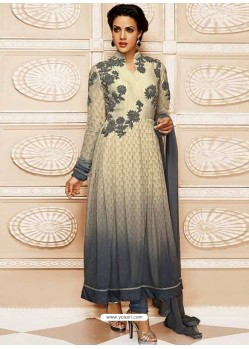 Grey And White Georgette Churidar Suit