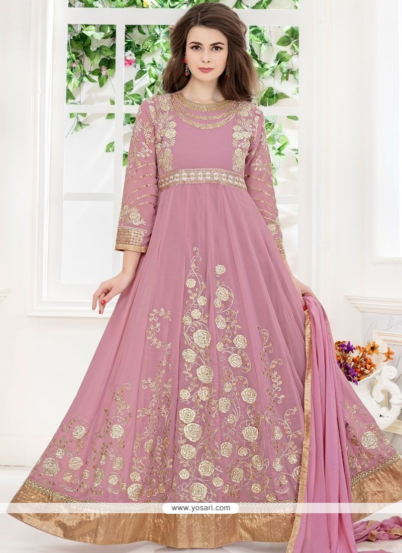 Buy embroidered work faux georgette floor length anarkali for Floor length suits